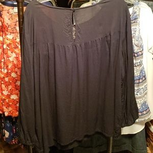 Old Navy Tops - Old Navy XXL Black Peasant Blouse GUC (12)